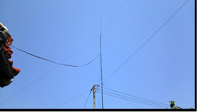 ラダーラインで給電した垂直ダイポールを上げ直しました